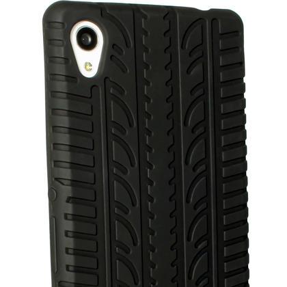 iGadgitz Black Tyre Tread Silicone Rubber Gel Skin Case Cover for Sony Xperia M4 Aqua E2303 + Screen Protector Thumbnail 5