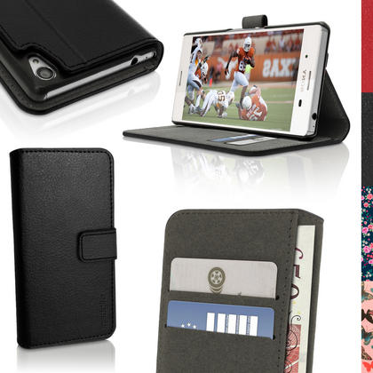 iGadgitz Wallet Flip PU Leather Case Cover for Sony Xperia M4 Aqua E2303 With Card Slots + Stand + Screen Protector Thumbnail 1
