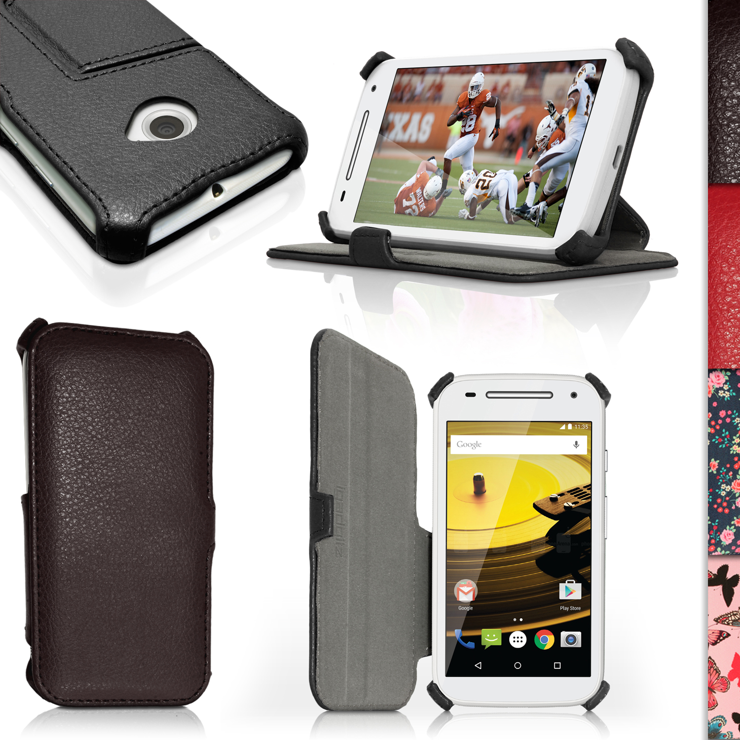 iGadgitz Folio PU Leather Case Cover for Motorola Moto E 2nd Generation 2015 XT1524 with Stand + Screen Protector