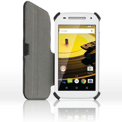 iGadgitz Folio PU Leather Case Cover for Motorola Moto E 2nd Generation 2015 XT1524 with Stand + Screen Protector Thumbnail 3