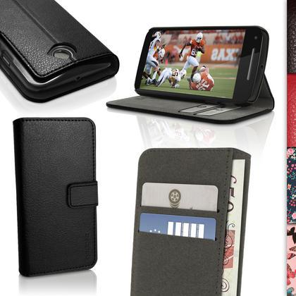iGadgitz Wallet Flip PU Leather Case Cover for Motorola Moto E 2nd Generation 2015 XT1524 + Card Slots Screen Protector Thumbnail 1
