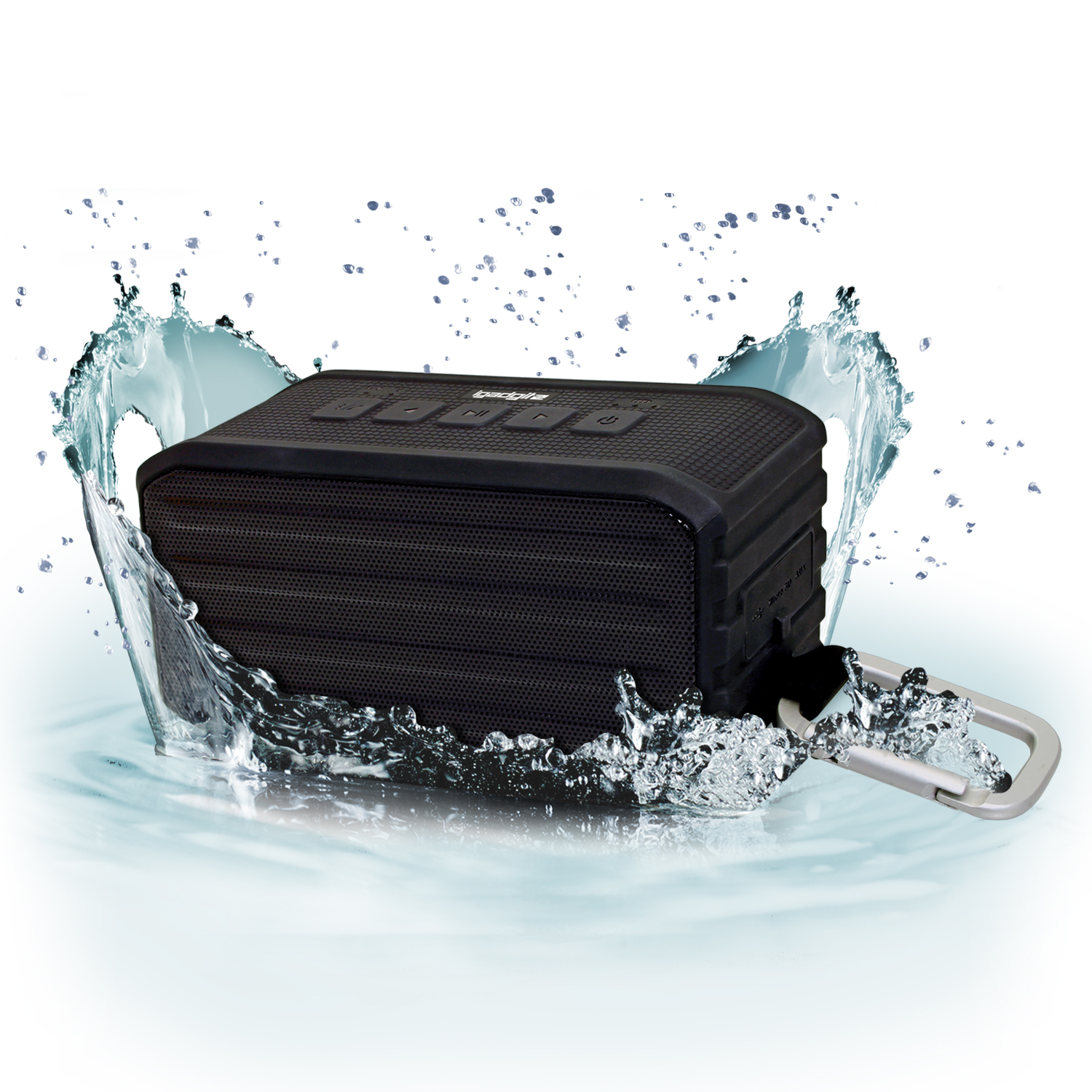 iGadgitz IGA-370 IPX4 7W Waterproof Portable Wireless Bluetooth 4.0 Travel Speaker with Carabineer Hanging Clip ? Black