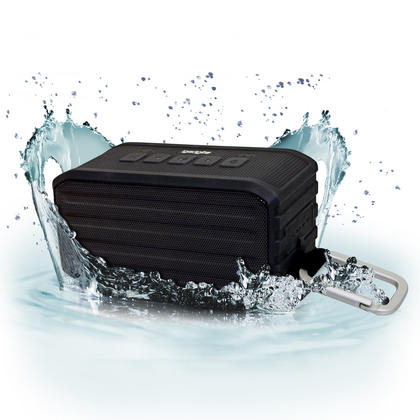 iGadgitz IGA-370 IPX4 7W Waterproof Portable Wireless Bluetooth 4.0 Travel Speaker with Carabineer Hanging Clip ? Black Thumbnail 1