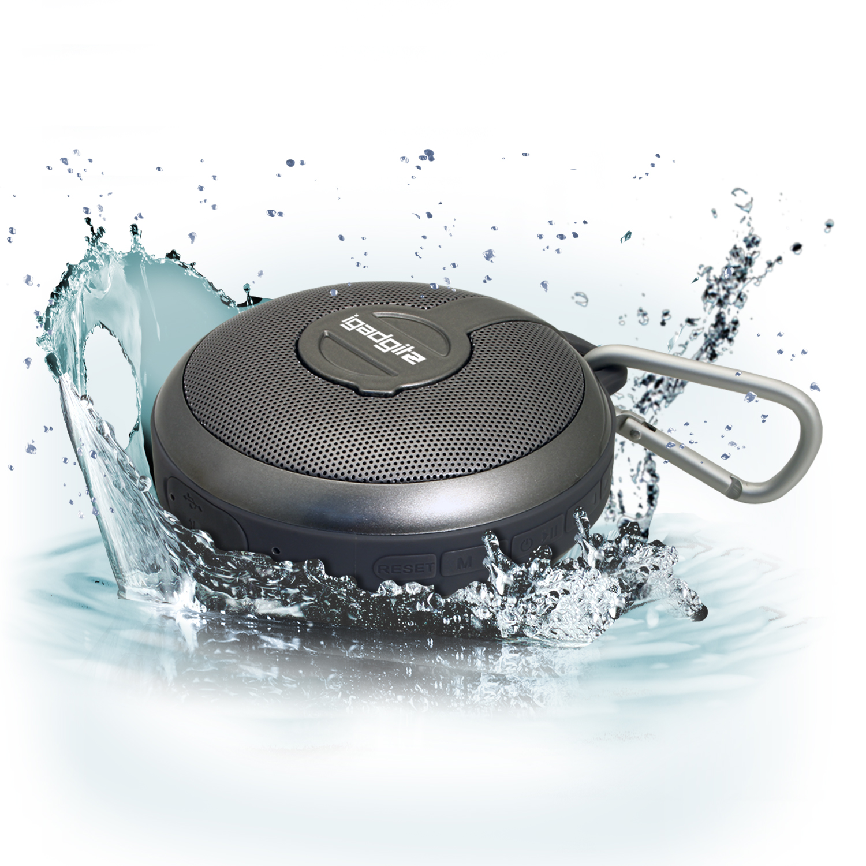 iGadgitz IGA-210 IP34 Waterproof Portable 3W Bluetooth 4.0 Wireless Travel Speaker  + Carabineer Hanging Clip