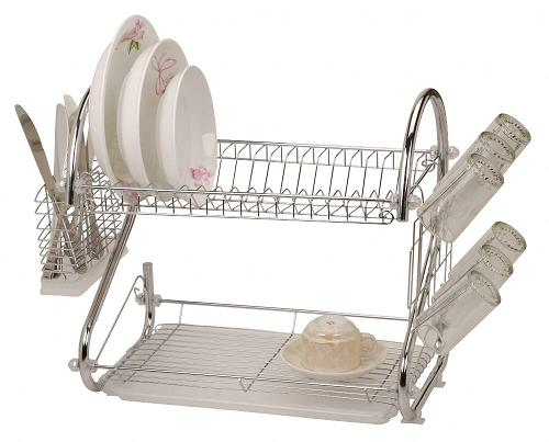 2 Tier Dish Washing Rack Dual Double Stacked Sink Draining Board Dishes New Cup