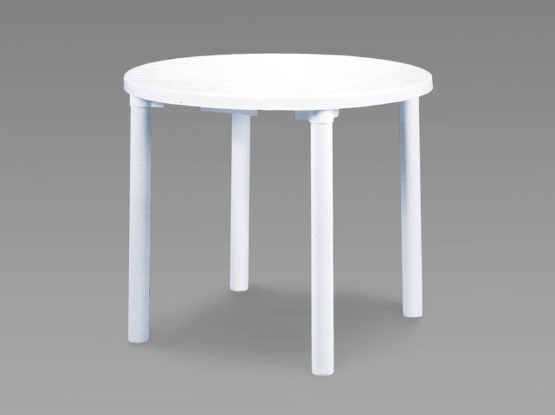 Round White Resin Garden Table Patio Outdoor Bistro Dining 90cm