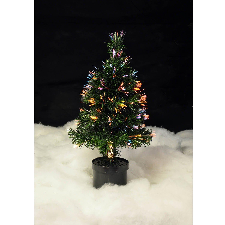 60cm desk christmas tree fibre optic 2ft multi coloured lights mains powered