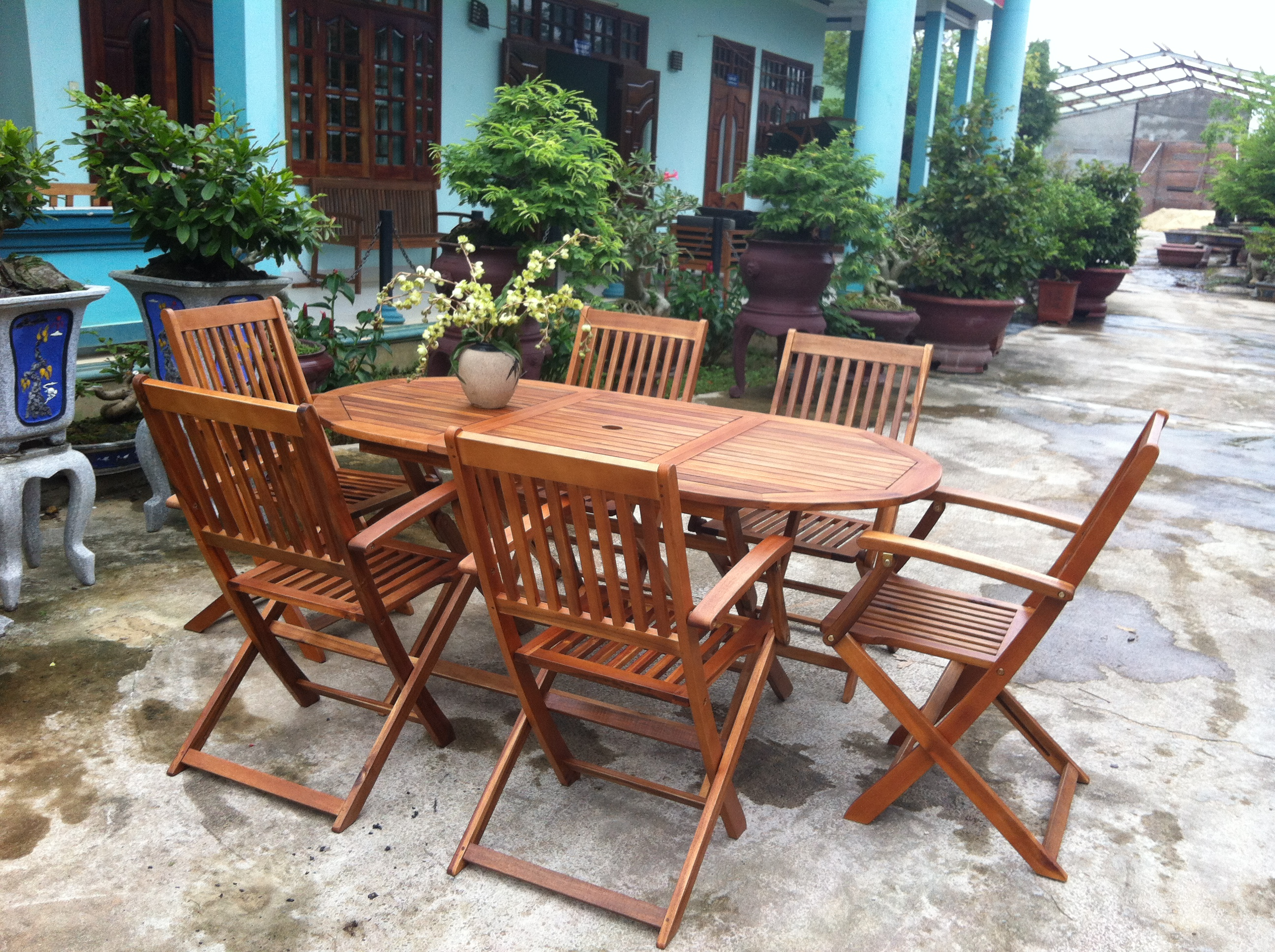 Garden oval table 6 chairs wooden patio outdoor dining furniture folding set