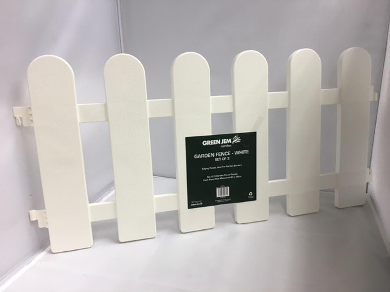 White Picket Fence Garden Border Edging (3 Pack) 1.8m Length Path Lawn Bed