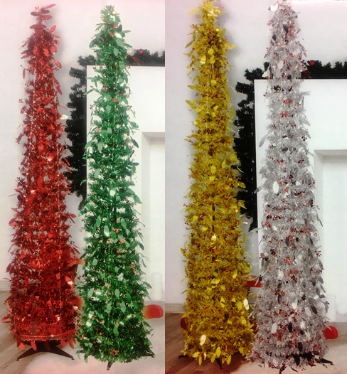 Silver Tinsel Pop Up Christmas Tree: Tinsel Pop Up Christmas Tree 5ft (150cm) & Stand Xmas