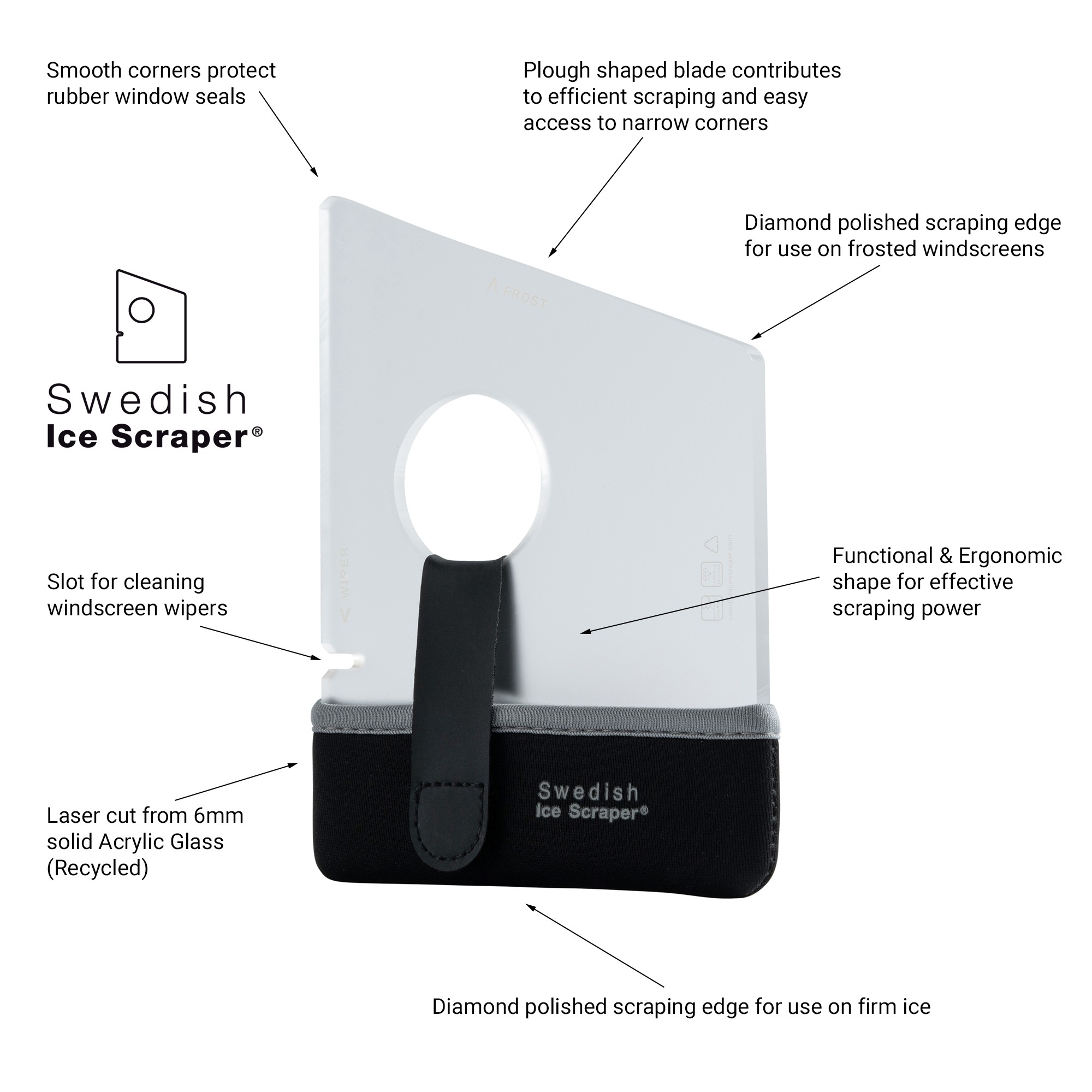 Swedish Ice Scraper ICE04 6mm Clear Frosted with Neoprene Holder