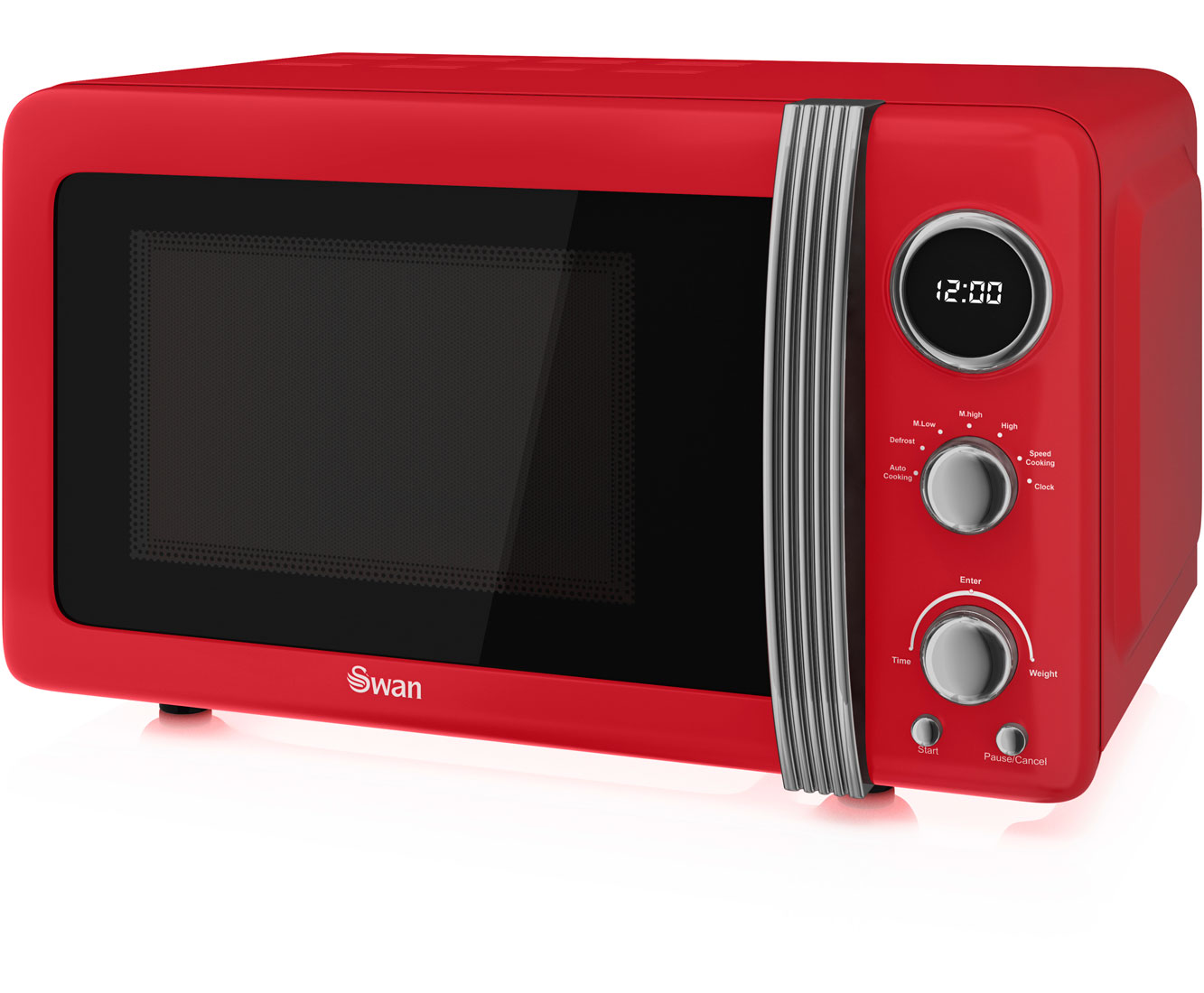 Sentinel Swan Retro Sm22030rn 800w 20l Microwave Oven Lcd Display