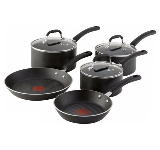 non stick cookware tefal non stick 5 pans set 3 saucepans 2 frying pans 31008
