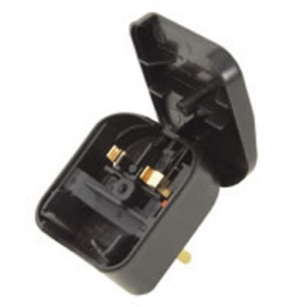 2 Pin European Mains Adapter EU to UK Plug Black UK