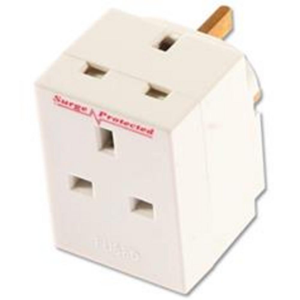 3 Way Surge Protected Fused UK Mains Plug Adapter UK
