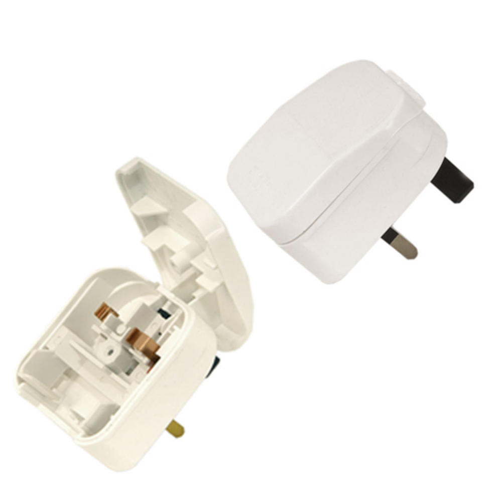 UK Mains Plug to 2 Pin Euro Flip adapter EU White UK