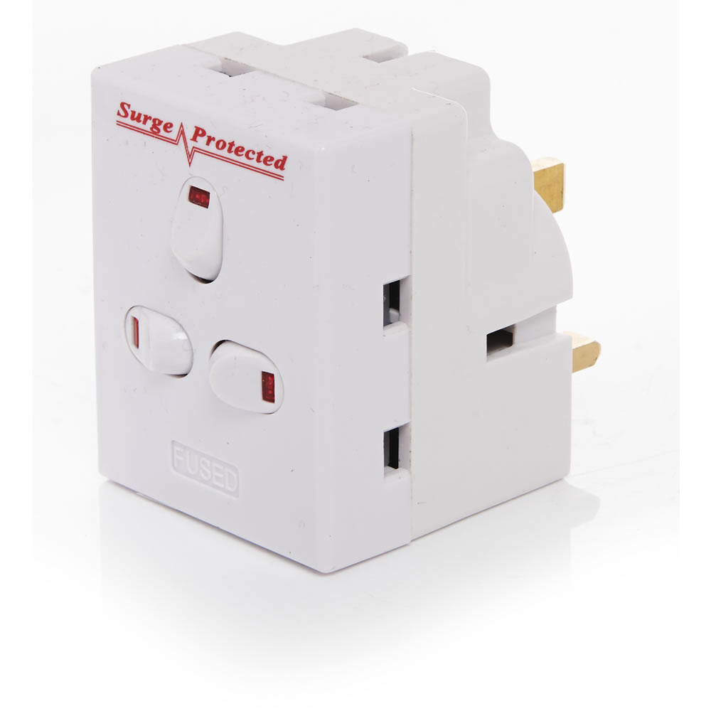 3 WAY SURGE PROTECTED ADAPTER WITH SWITCHES