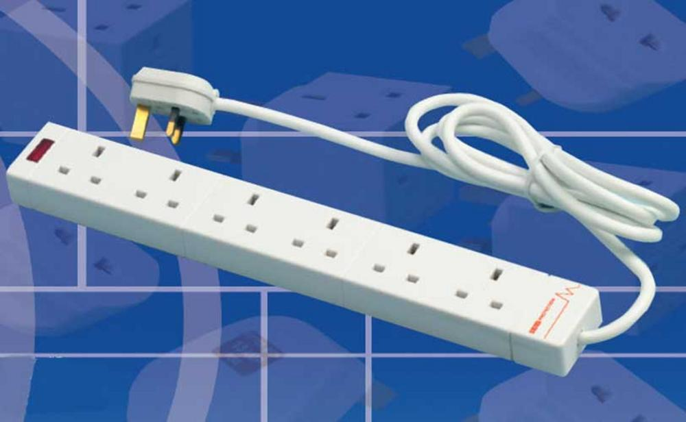 6 WAY SURGE PROTECTED MAINS GANG SOCKET STRIP - 2M