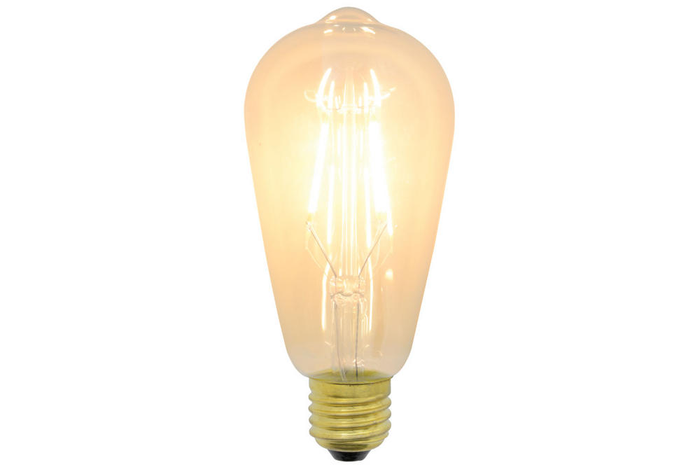 Vintage Decorative ST64 Filament LED Lamp with Amber Tinted Glass 4W Dimmable