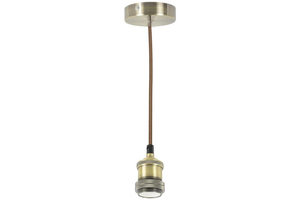Vintage Decorative Single E27 Lighting Pendant Cordset Antique Brass