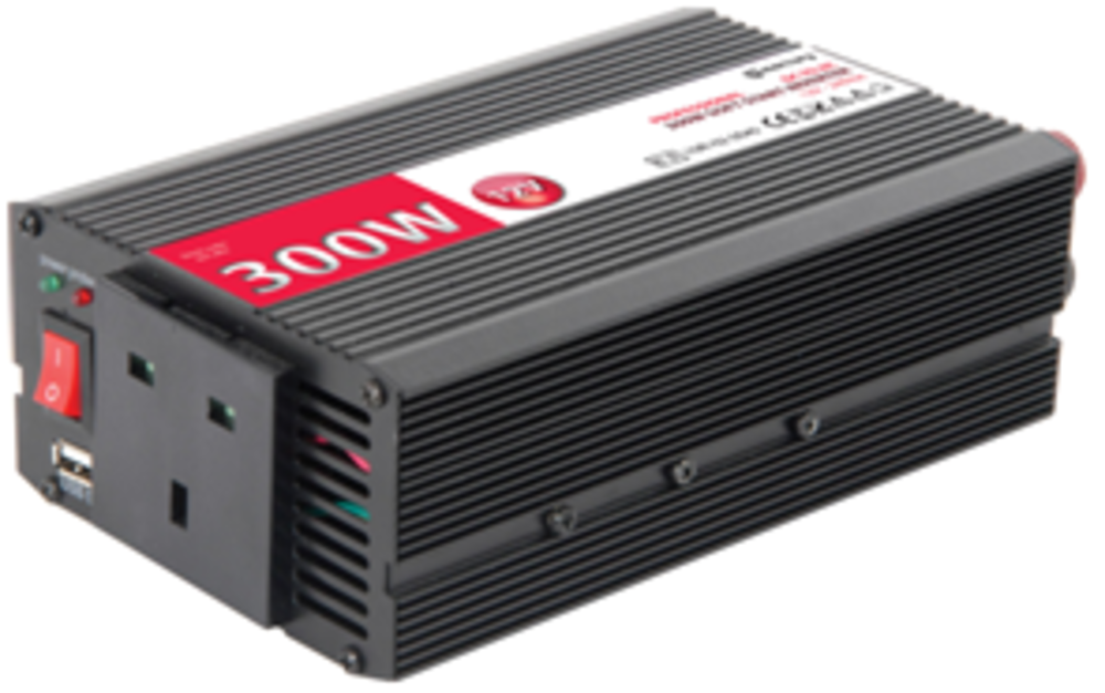 Compact Soft Start Power Inverter DC to AC 12Vdc 300w with USB Port 90cm DC Lead
