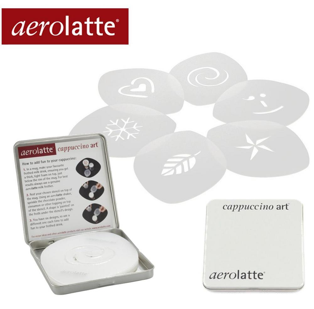 6 x Aerolatte Coffee Stencils for Caffè Latte Cappuccino Macchiato in Gift Tin U