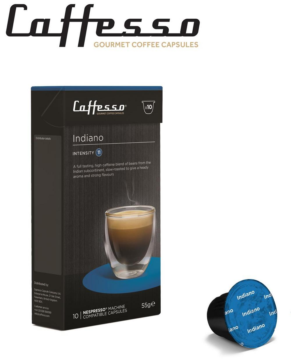 10 x Caffesso Nespresso Compatible Coffee Capsules / Pods - Indiano Blend