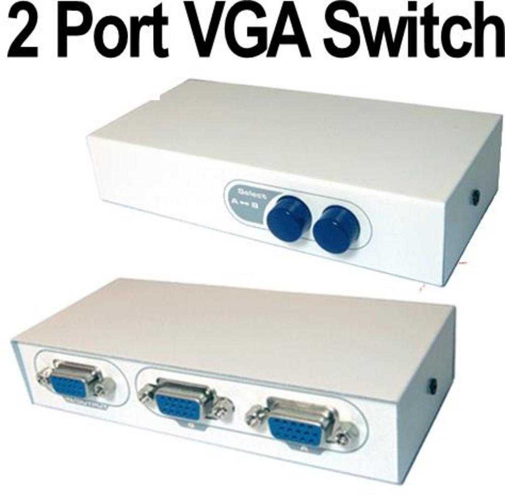 2 Port Vga Manual Switch Splitter X Pc To 1 Monitor Projector Bi Converter Spliter
