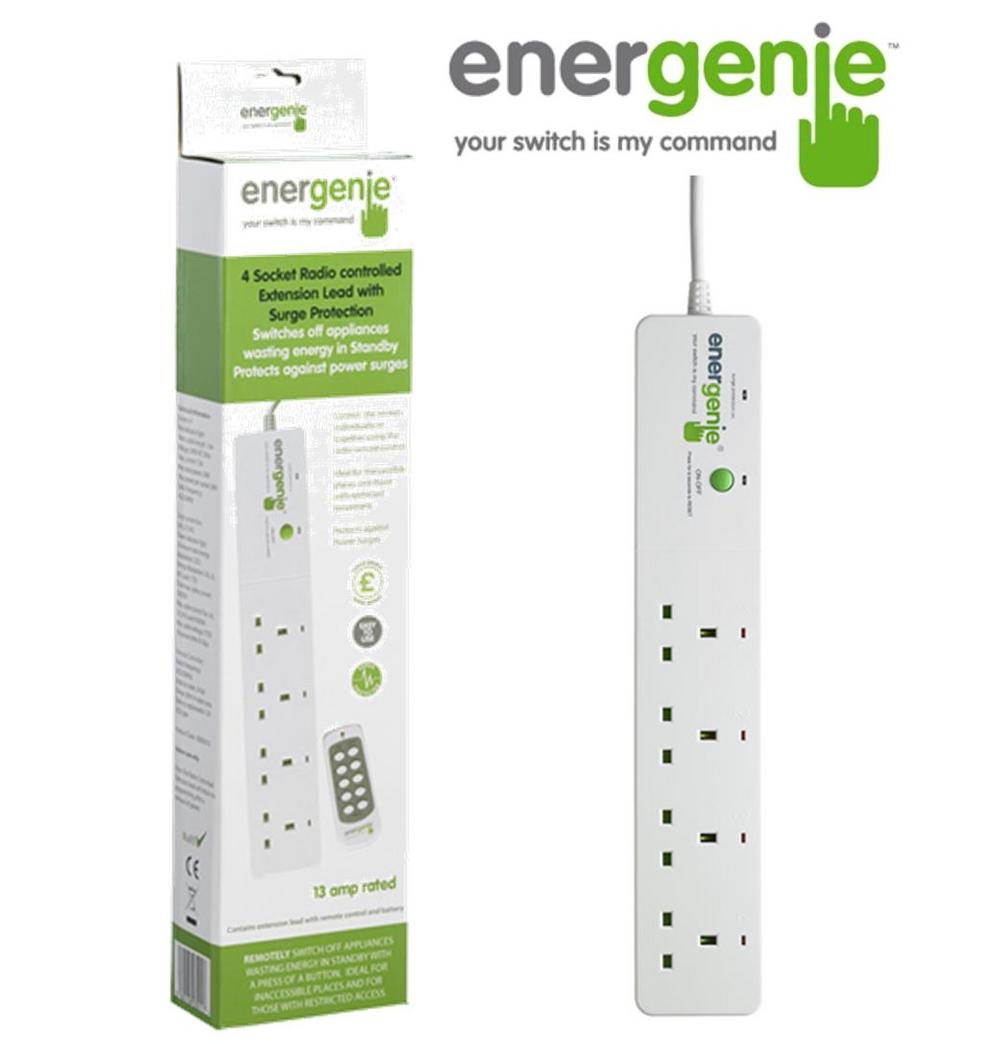 ENERGENIE 4 Gang Extension Remote Control Sockets + Surge + Standby Shutdown UK