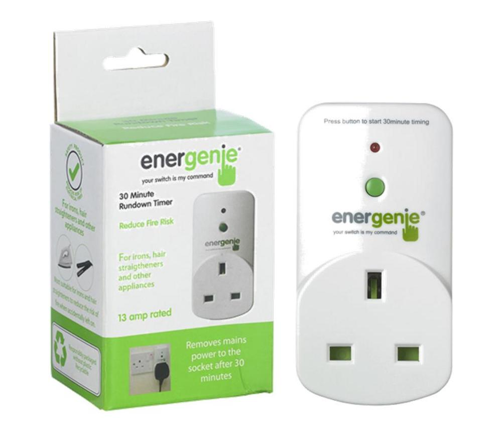 ENERGENIE 30 Minute Run Down Timer UK Safety Plug with Restart Button UK