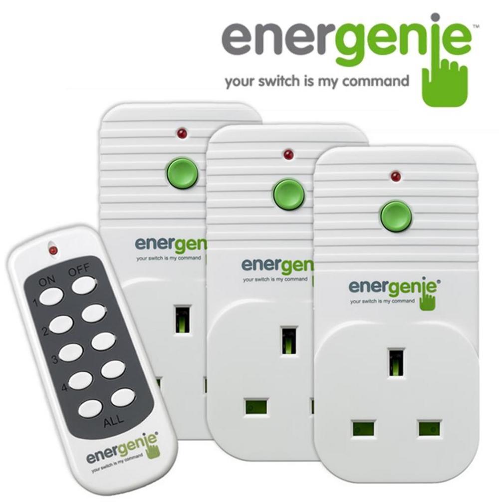 ENERGENIE 3 x Remote Control UK Mains Sockets & Standby Shut Off - 30M Range UK