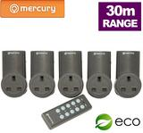 5 x Remote Control UK Mains Sockets & Standby Shut Off - 30M Range UK