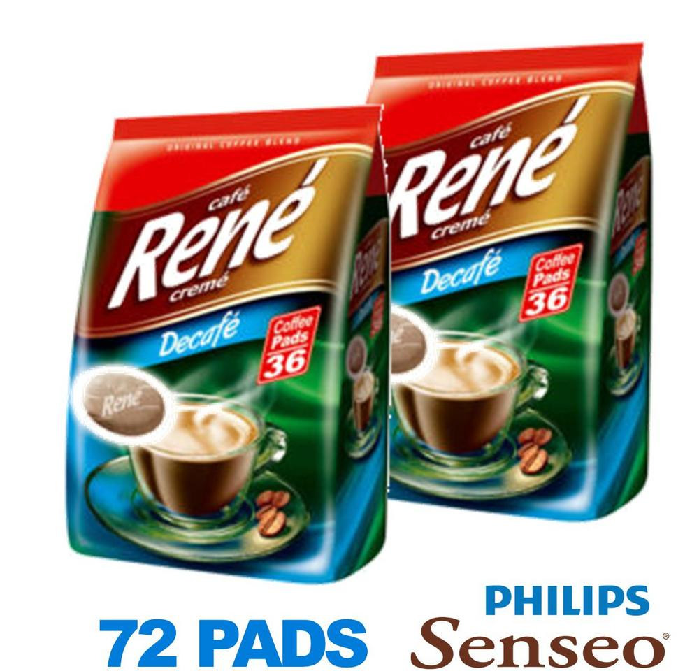Philips Senseo 72 x Cafe Rene Cremé Decaffeinated Coffee Pads Bags