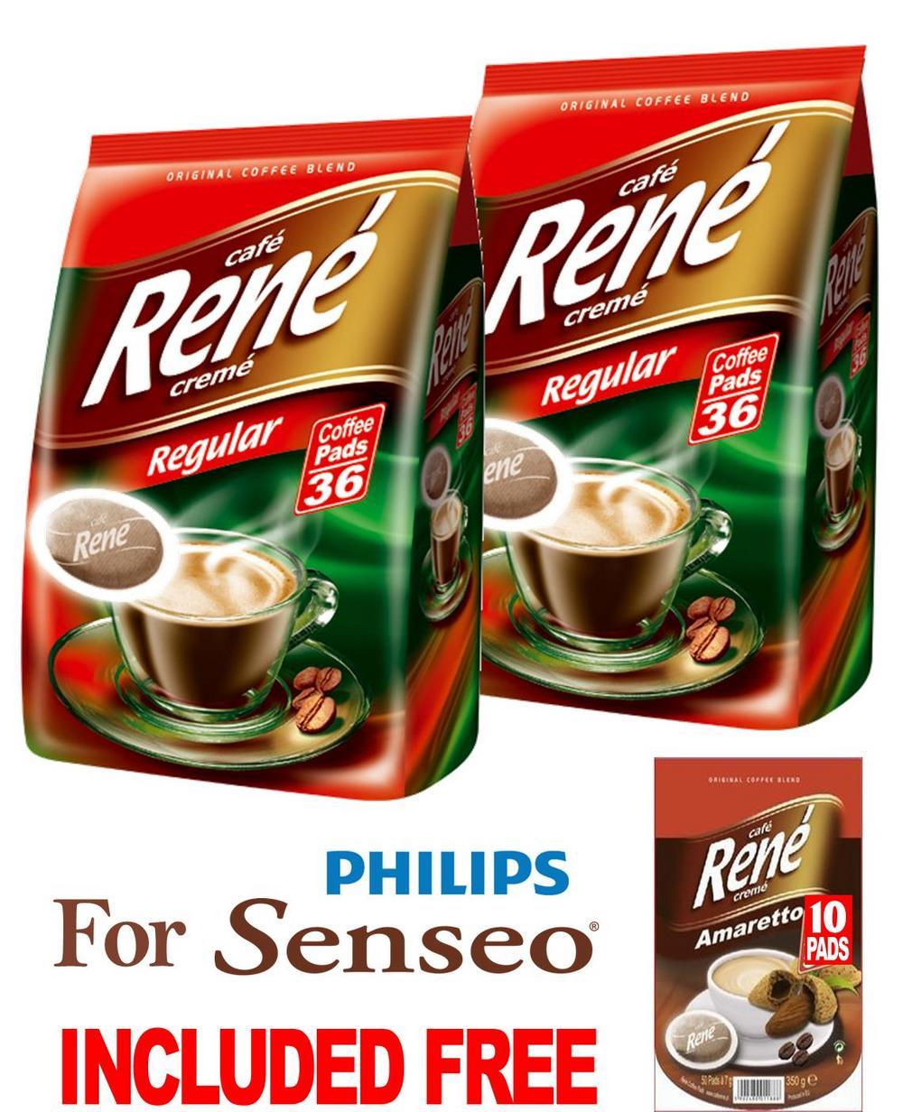 Philips Senseo 72 x Cafe Rene Cremé Regular Roast Coffee Pads Bags Pods