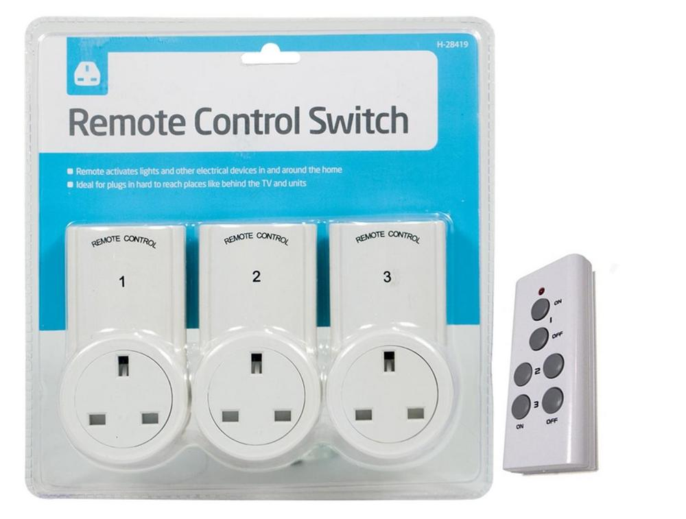 Remote Control Sockets Wireless Operated 30M Range UK Mains Plug - 3 Pack