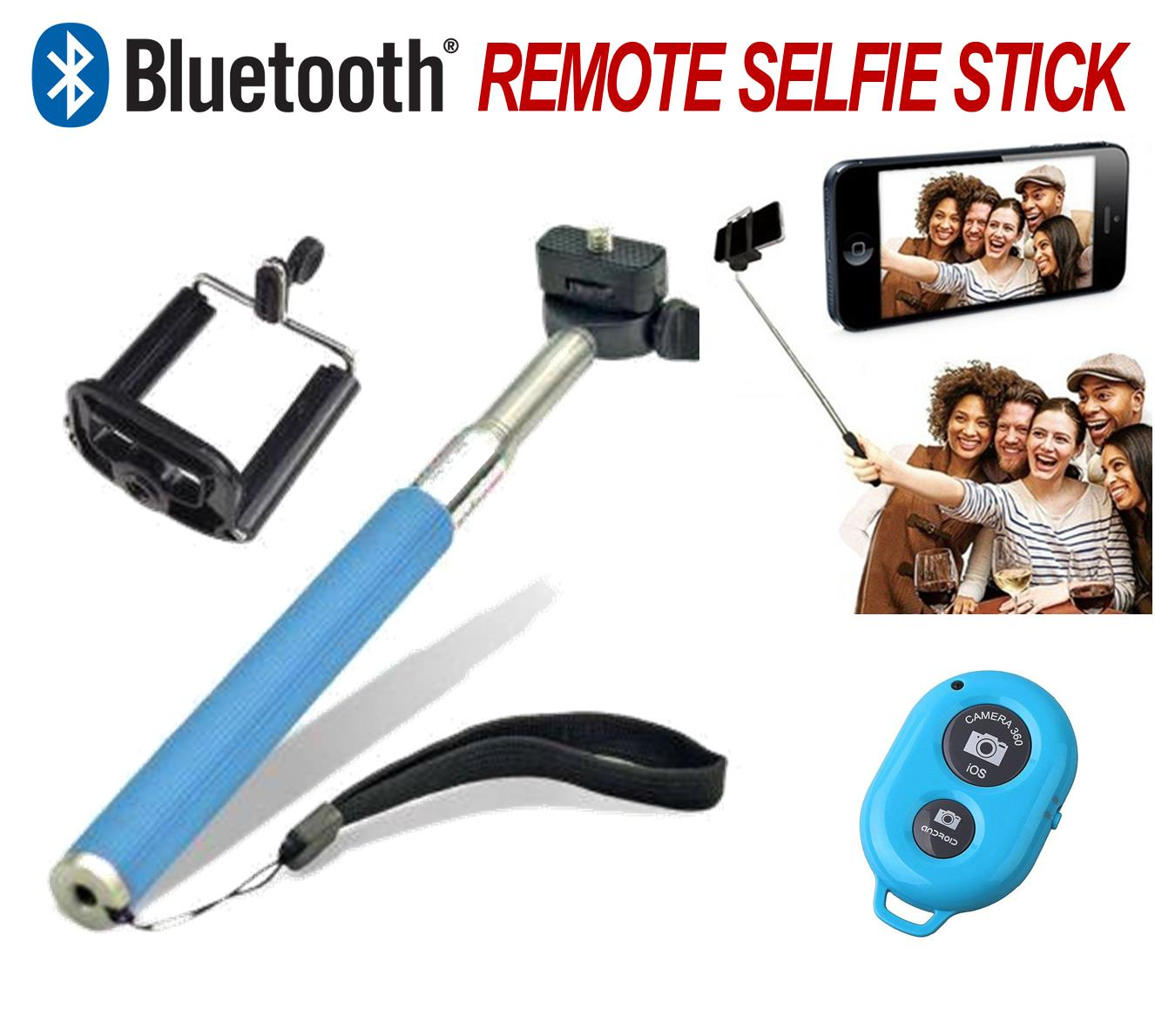 bluetooth remote monopod selfie stick mobile phone camera holder blue ebay. Black Bedroom Furniture Sets. Home Design Ideas