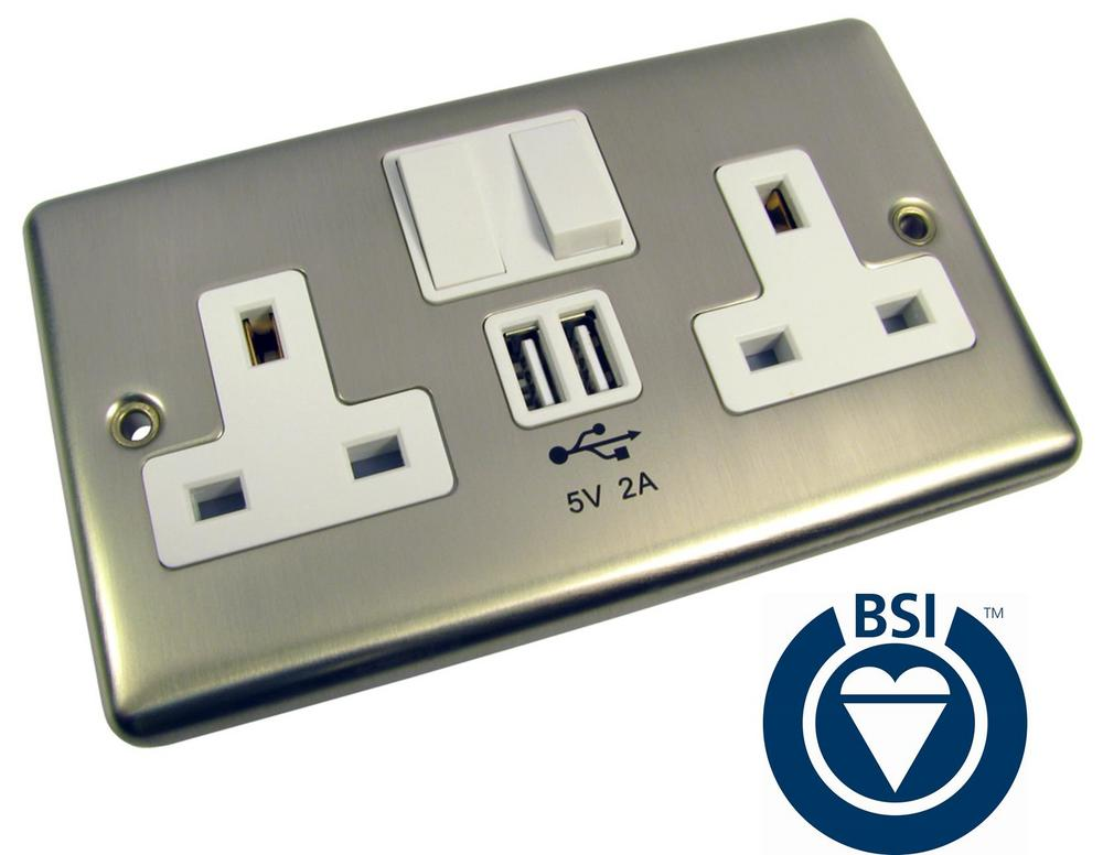 UK Chrome 2x Gang Double Power Wall Socket Face Plate 2x USB 2A Charger Ports