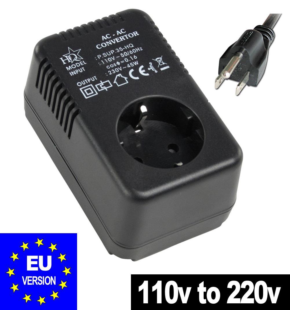 Step Up Voltage Converter 110v - 220v 45W European EU TO USA PLUG ...