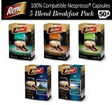 50x Nespresso Compatible Coffee Capsules Pods - Five Smooth Breakfast Blends