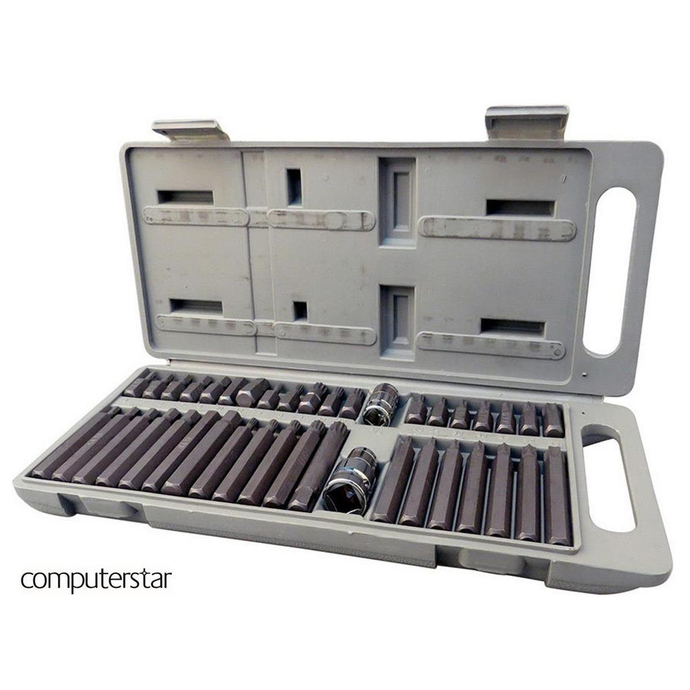 40 Piece Mechanic 3/8 & 1/2 Drive Torx Star Spline Hex Socket Bit Garage Toolset