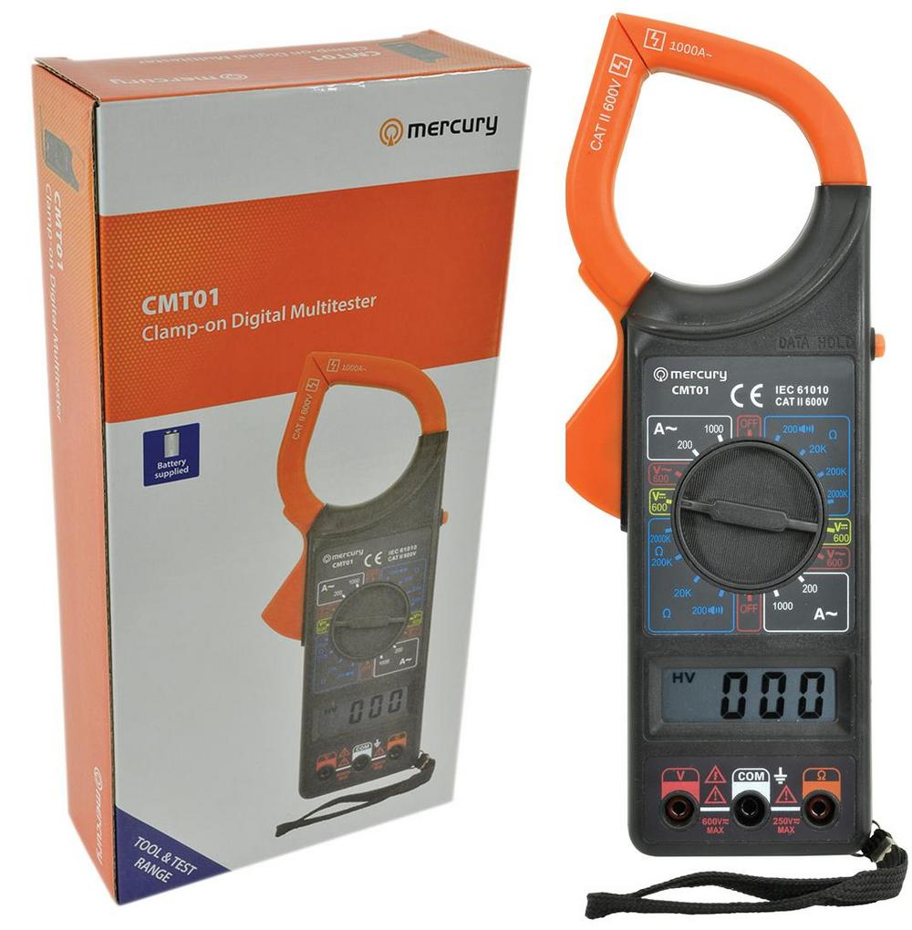 Mercury Digital LCD Multimeter Voltmeter Ammeter AC DC OHM Clamp On Feature