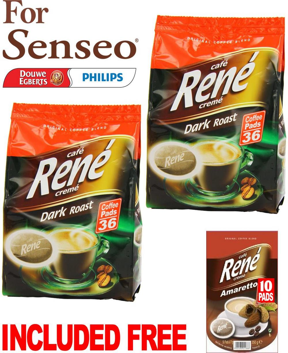 Philips Senseo 72 x Cafe Rene Cremé Dark Roast Coffee Pads Bags Pods