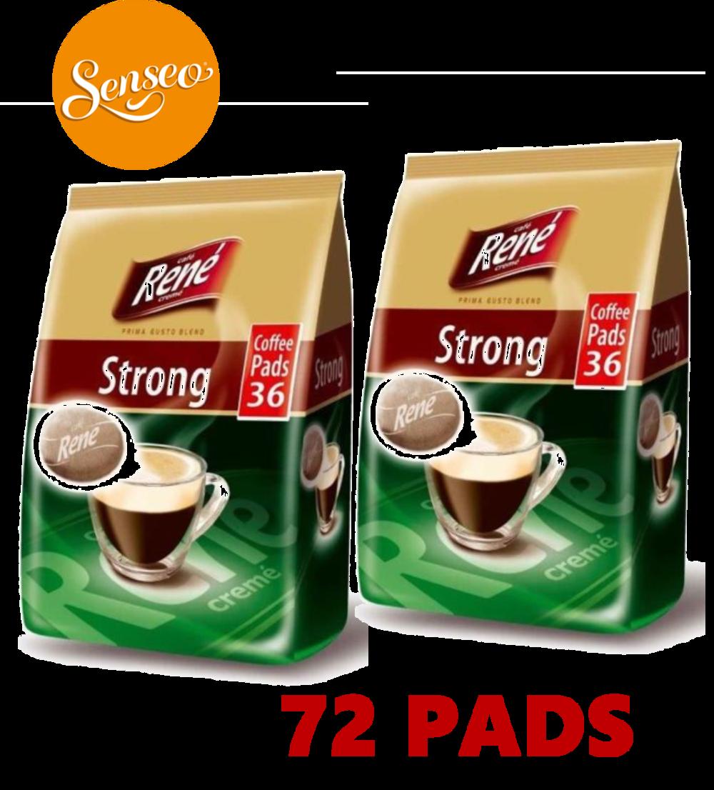 Philips Senseo 72 x Cafe Rene Cremé Strong Dark Roast Coffee Pads Bags Pods