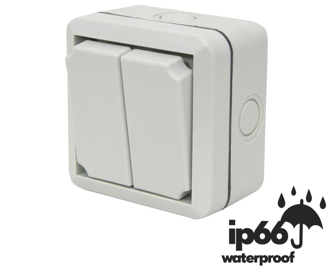 Weatherproof Ip66 2 Gang Way Outdoor Switch British Standard Electronics Approved