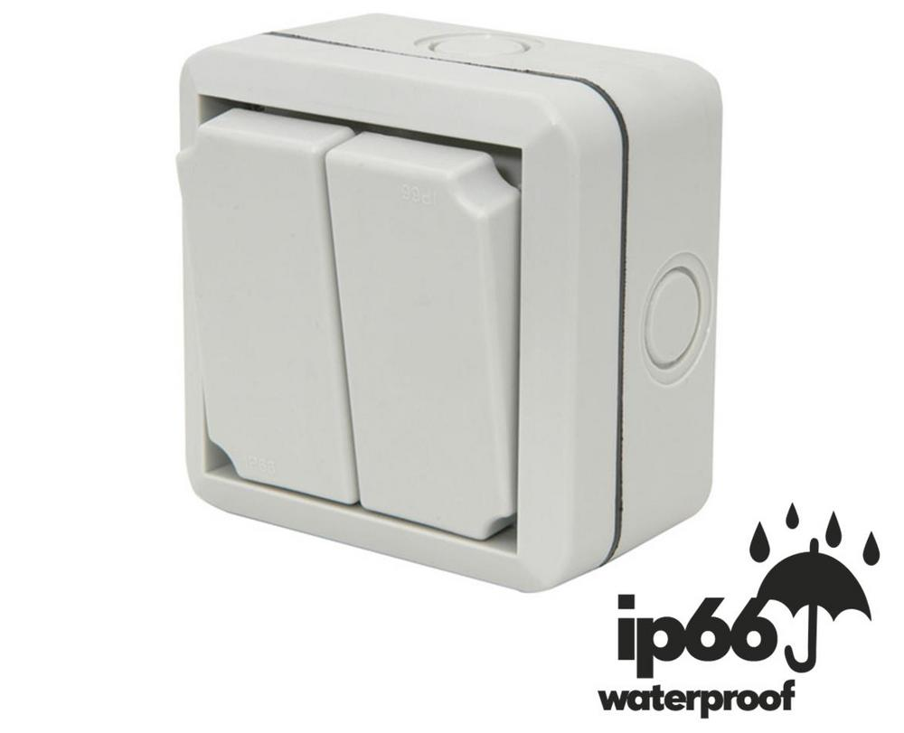 WEATHERPROOF IP66 2 GANG 2 WAY OUTDOOR SWITCH BRITISH STANDARD APPROVED