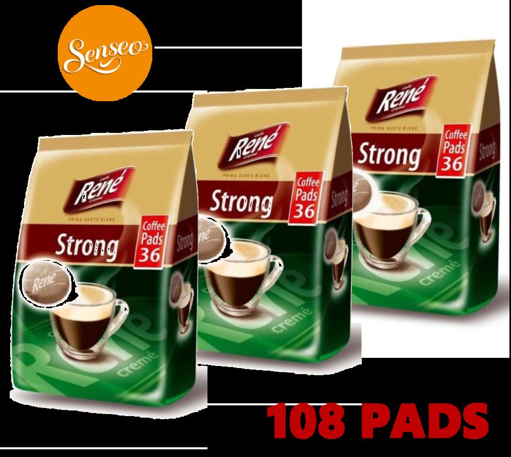 Philips Senseo 108 x Cafe Rene Cremé Strong Dark Roast Coffee Pads Bags Pods