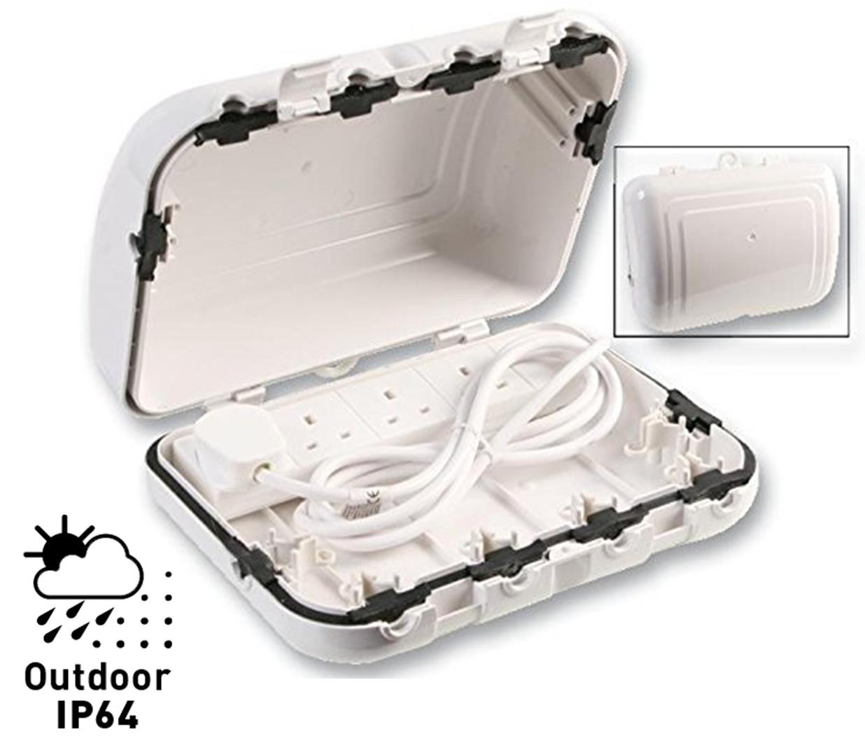 Outdoor Waterproof Electric Enclosure Box with 4 Gang UK Plug Strip