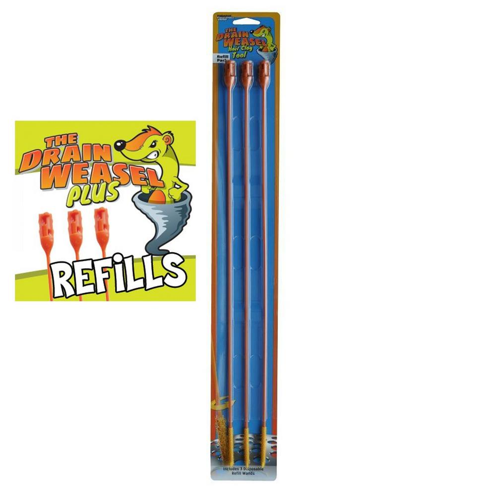 Drain Weasel 3 Pack Disposable Refill Wands for Drain Weasel Hair Clog Tool
