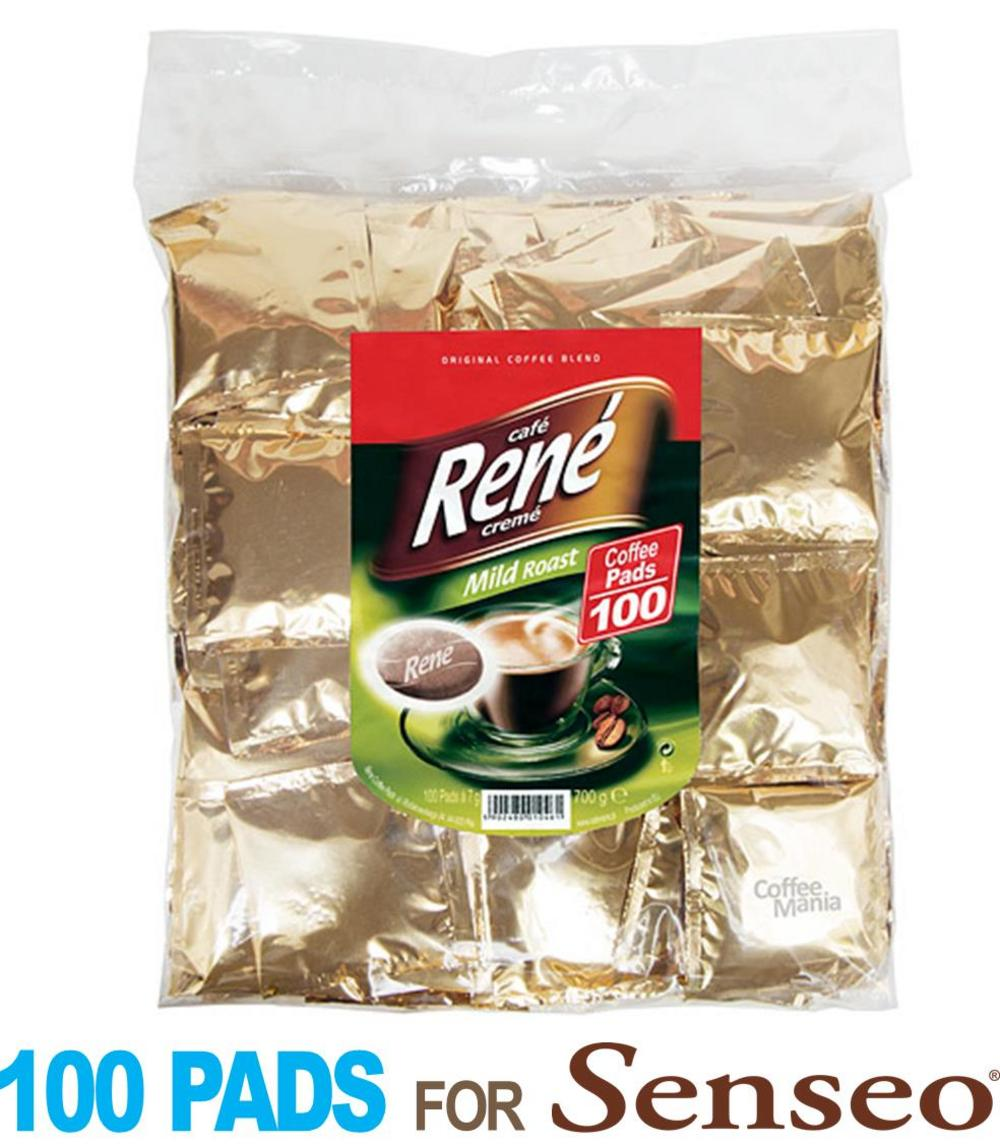 Philips Senseo 100 x Café Rene MILD Coffee Individually Sealed Pads Bags