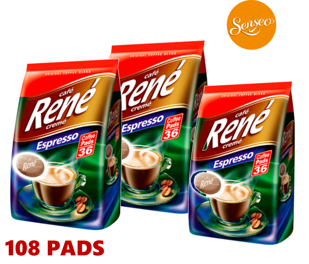 Philips Senseo 108 x Cafe Rene Cremé Espresso Roast Coffee Pads Pods Bags